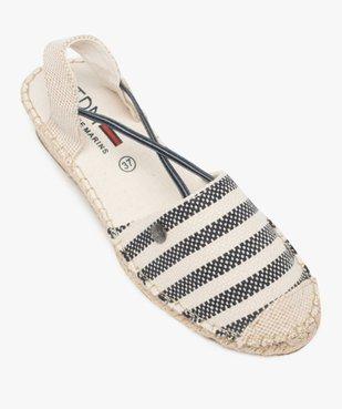 Sandales femme en toile à talon compensé – Terre de Marins Dessus rayé marin vue5 - TERRE DE MARINS - GEMO