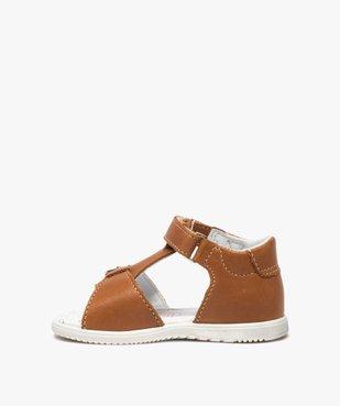 Sandales bébé en cuir uni ajustables - Bopy vue3 - BOPY - GEMO