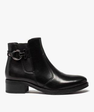 Boots femme à talon plat unis dessus cuir et bride fantaisie vue1 - GEMO (CASUAL) - GEMO