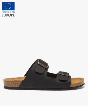 Sandales homme en cuir à larges brides à boucle vue1 - GEMO (CASUAL) - GEMO
