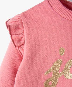 Sweat bébé fille avec inscription pailletée et volants aux épaules vue4 - GEMO(BEBE DEBT) - GEMO
