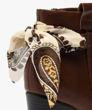 Boots femme unis à talon rainuré et ruban fantaisie vue6 - Nikesneakers(URBAIN) - Nikesneakers