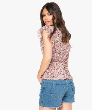 Tee-shirt femme cintré à décolleté cache-cœur vue3 - GEMO(FEMME PAP) - GEMO
