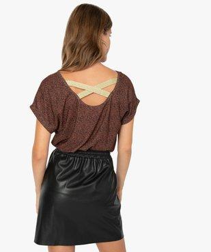 Tee-shirt femme à motifs pailletés et brides croisées dos vue3 - GEMO(FEMME PAP) - GEMO
