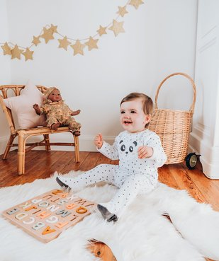 Pyjama bébé en velours imprimé en polyester recyclé vue6 - GEMO(BB COUCHE) - GEMO