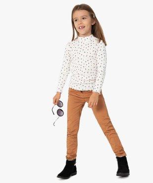 Tee-shirt fille en maille côtelée à motifs fleuris vue1 - GEMO C4G FILLE - GEMO