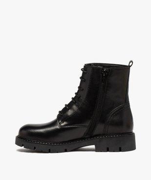Boots fille en cuir uni style godillots à semelle crantée vue3 - GEMO (ENFANT) - GEMO