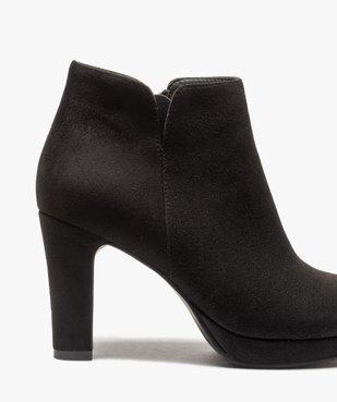 Low-boots femme à talon dessus en suédine unie vue6 - GEMO(URBAIN) - GEMO