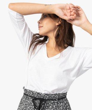 Tee-shirt femme à manches ¾ col V vue2 - GEMO(FEMME PAP) - GEMO