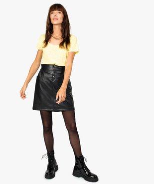 Jupe femme en cuir imitation avec boutons fantaisie vue5 - GEMO(FEMME PAP) - GEMO