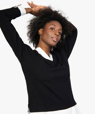 Pull femme effet 2 en 1 avec col chemise vue1 - GEMO(FEMME PAP) - GEMO