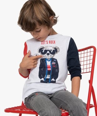 Tee-shirt garçon à manches longues imprimé - Lulu Castagnette vue1 - LULUCASTAGNETTE - GEMO