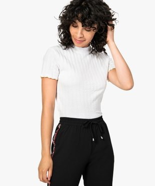 Tee-shirt femme effet rayé avec manches courtes et finitions fantaisie vue1 - FOLLOW ME - GEMO