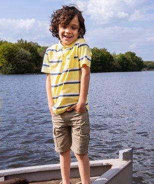 Polo garçon manches courtes à rayures 100% coton biologique vue5 - GEMO (ENFANT) - GEMO