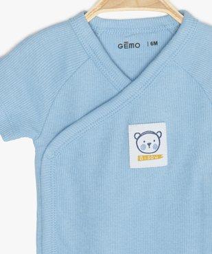 Body bébé garçon côtelé fermeture croisée vue2 - GEMO C4G BEBE - GEMO