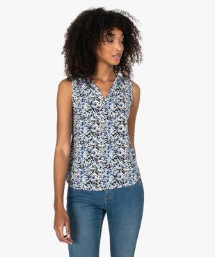 Blouse femme sans manches imprimée avec col chemise vue1 - GEMO(FEMME PAP) - GEMO