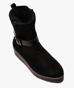 Boots femme à semelle plateforme en suédine unie vue5 - GEMO(URBAIN) - GEMO