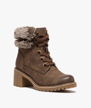 Boots femme à col duveteux, talon carré et semelle crantée vue2 - GEMO(URBAIN) - GEMO