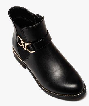Boots femme unis à talon plat et chaine métallique vue5 - GEMO (CASUAL) - GEMO