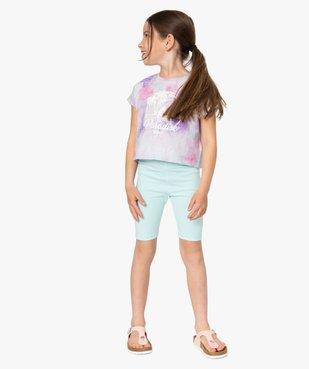 Tee-shirt court fille avec motif scintillant sur l'avant vue6 - GEMO (ENFANT) - GEMO