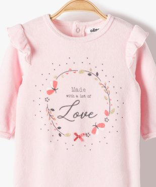 Pyjama bébé fille en velours avec volants sur les épaules vue2 - GEMO(BB COUCHE) - GEMO