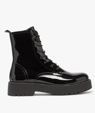 Boots femme vernis à lacets et semelle crantée vue1 - GEMO (CASUAL) - GEMO