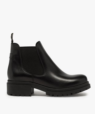 Boots femme style chelsea unis à talon carré et semelle crantée  vue1 - GEMO (CASUAL) - GEMO