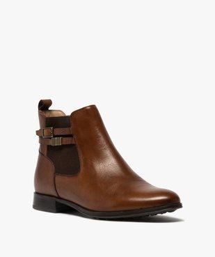 Boots femme unis à talon plat dessus cuir – Pierre Cardin vue2 - PIERRE CARDIN D - GEMO