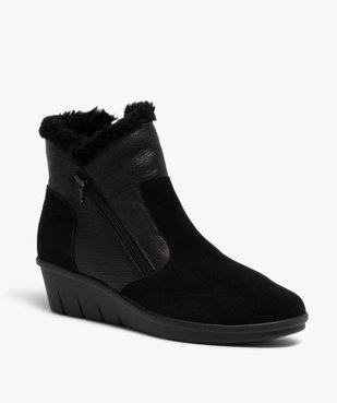 Boots femme confort unies à talon et doublure chaude vue2 - GEMO (CONFORT) - GEMO