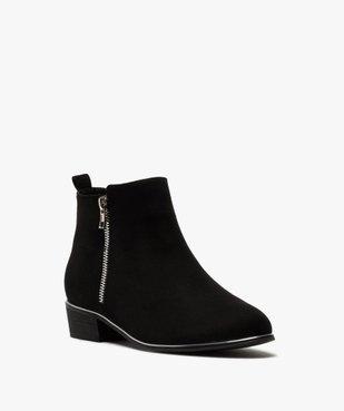 Boots fille en suédine avec talon carré et détails métallisés vue2 - GEMO (ENFANT) - GEMO
