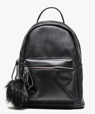 Petit sac à dos grainé avec pompon vue1 - GEMO (ACCESS) - GEMO