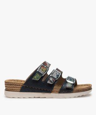 Sandales confort femme mules à talon compensé colorées vue1 - GEMO (CONFORT) - GEMO