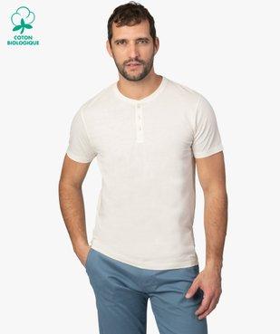 Tee-shirt homme col tunisien 100% coton biologique vue1 - GEMO C4G HOMME - GEMO