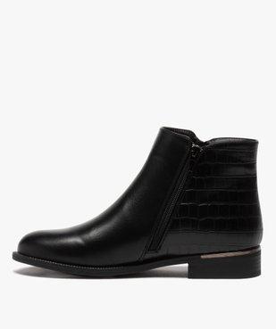 Boots femme unis à talon plat imitation croco vue3 - GEMO (CASUAL) - GEMO