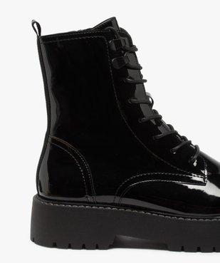 Boots femme vernis à lacets et semelle crantée vue6 - GEMO (CASUAL) - GEMO
