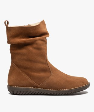Boots fourrées femme à talon plat dessus cuir retourné uni vue1 - GEMO (CASUAL) - GEMO