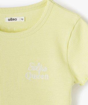 Tee-shirt fille court en nid d'abeille avec manches volantées vue2 - GEMO C4G FILLE - GEMO
