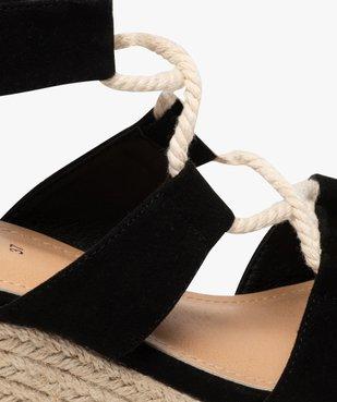 Sandales femme à talon compensé laçage cordelette vue6 - GEMO(URBAIN) - GEMO