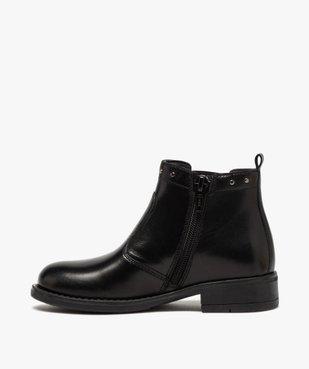 Boots fille en cuir uni style chelsea ornées de clous vue3 - GEMO (ENFANT) - GEMO