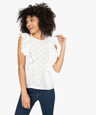 Tee-shirt femme bi-matières ajouré sur l'avant vue1 - GEMO(FEMME PAP) - GEMO