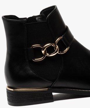 Boots femme unis à talon plat et chaine métallique vue6 - GEMO (CASUAL) - GEMO