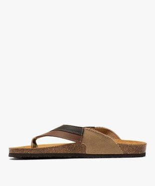 Sandales homme à bride entre-doigts en toile et cuir vue3 - GEMO (CASUAL) - GEMO