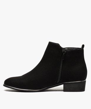 Boots fille en suédine avec talon carré et détails métallisés vue3 - GEMO (ENFANT) - GEMO
