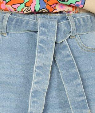 Jupe en jean femme courte avec ceinture à nouer vue2 - GEMO(FEMME PAP) - GEMO