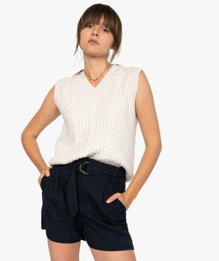 Pull femme sans manches en maille torsadée vue1 - GEMO(FEMME PAP) - GEMO