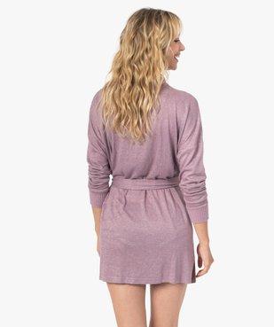 Veste d'intérieur femme en maille duveteuse avec ceinture à nouer vue3 - GEMO(HOMWR FEM) - GEMO