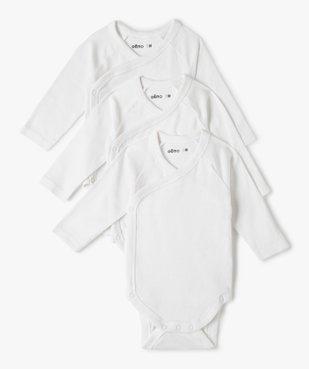 Body bébé à manches longues uni (lot de 3) vue1 - GEMO C4G BEBE - GEMO