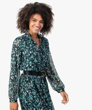 Robe femme longue en voile imprimé et grosse ceinture vue2 - GEMO(FEMME PAP) - GEMO