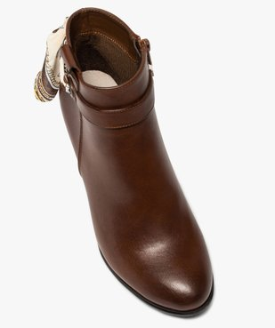 Boots femme unis à talon rainuré et ruban fantaisie vue5 - Nikesneakers(URBAIN) - Nikesneakers