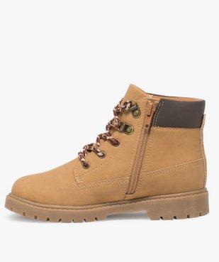 Boots garçon avec col rembourré, lacets montagne et semelle crantée vue3 - GEMO (ENFANT) - GEMO